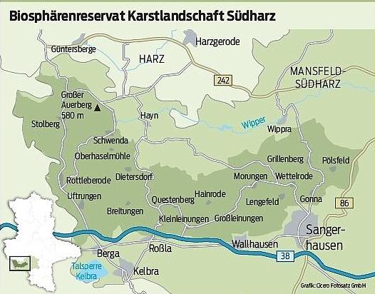 Karte BioRes Südharz ÜB