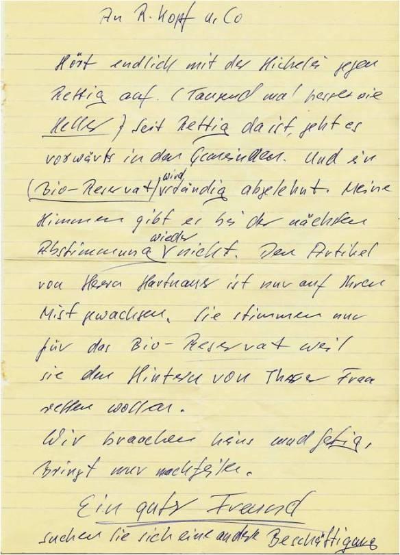 Brief von Gemeinderatsmitglied